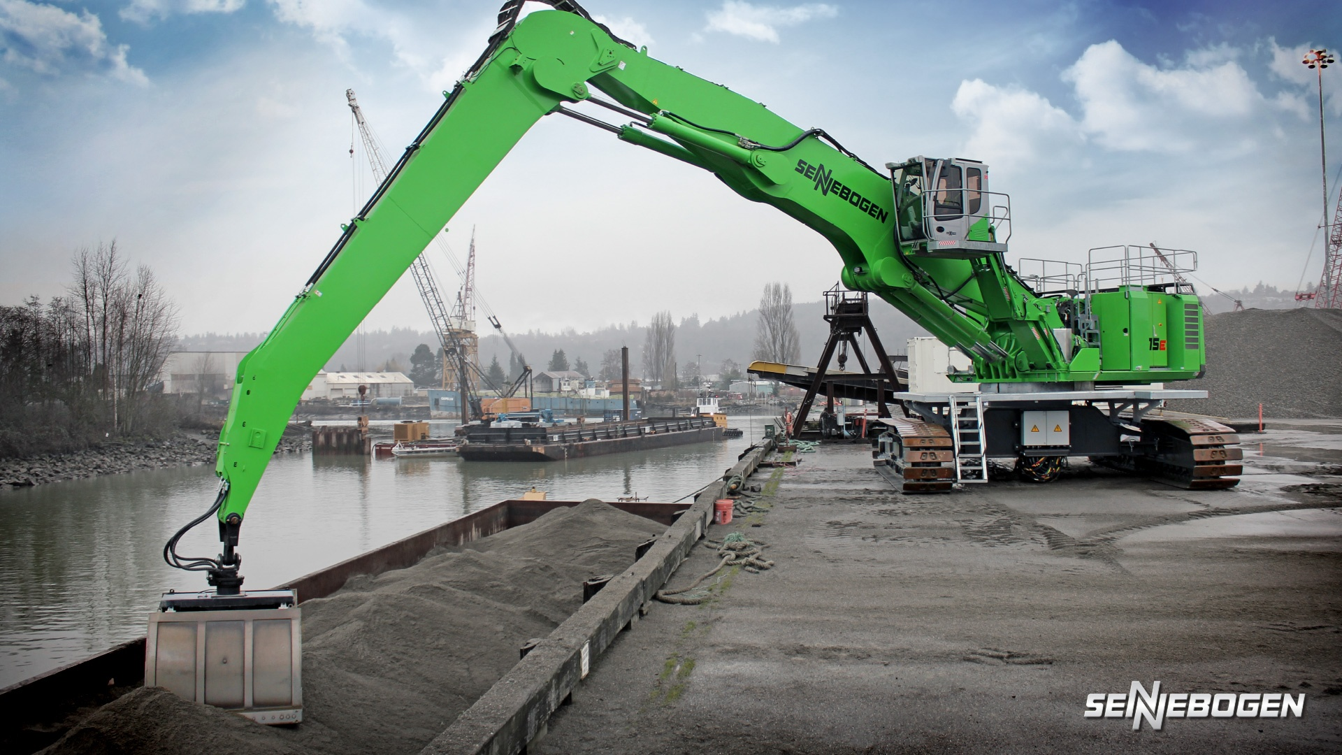 Image of a sennebogen machine operating at a port